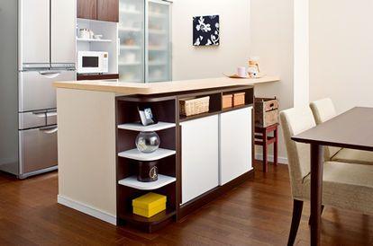対面キッチンカウンター下の収納技 画像 アイデア Diy Ikea ニトリ