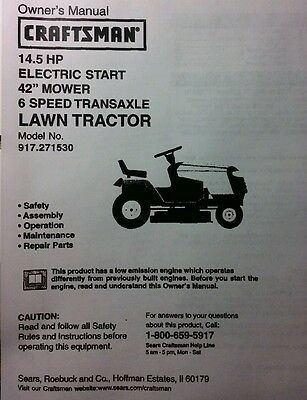 Sears Craftsman 14 5 Hp Lawn Riding Tractor 42 Mower Owner Parts Manual In 2020 Riding Tractor Sears Craftsman Tractors