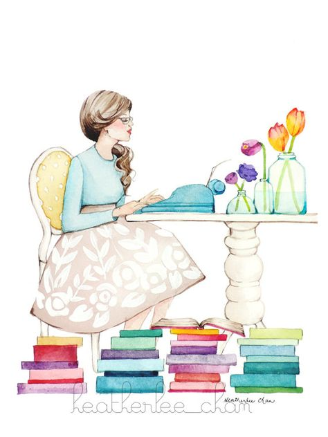 The Writer  Girl and Typewriter  Watercolor   Art por ladypoppins