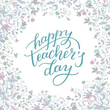 Happy Teachers Day Hand Lettering With Flower Frame Template Teachers Day Card Happy Teachers Day Happy Teachers Day Card