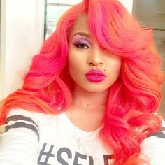 pink and orange hair color fusion.