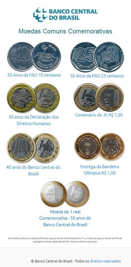 Moedas Comuns Comemorativas Banco Central Do Brasil Moedas