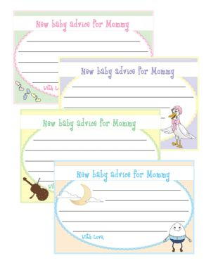 New Baby Advice. Fill in a note to mom-to-be, all decked out in Nursery Rhymes. Baby shower game.