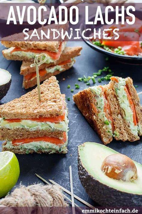 Avocado Lachs Sandwiches | Der schnelle Snack mit Toast, Räucherlachs und Avocado ist in 15 Minuten auf Dein Fingerfood-Buffet gezaubert. Das gesunde und leckere Sandwich passt auch hervorragend zu einem Picknick | #sandwiches #buffet #fingerfood #partyfood #selbstgemacht #picknick #rezept #einfachkochen | emmikochteinfach.de