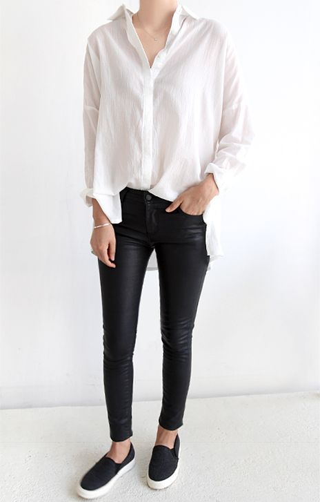 white oversized shirt, leather jeans & slip-on sneakers #style #fashion