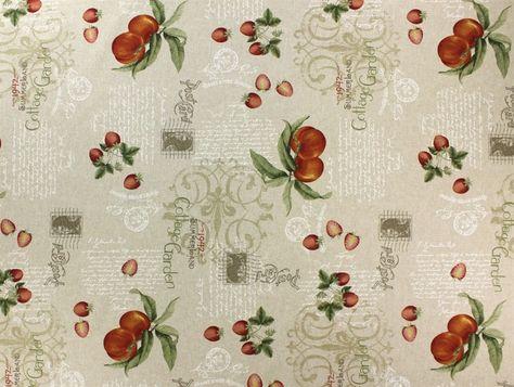 Cottage Garden, Pfirsich, 7181-01,  bei stoffe-hemmers.de, Sehr schöner Baumwollstoff mit Ornamenten und Obst in wunderschönem