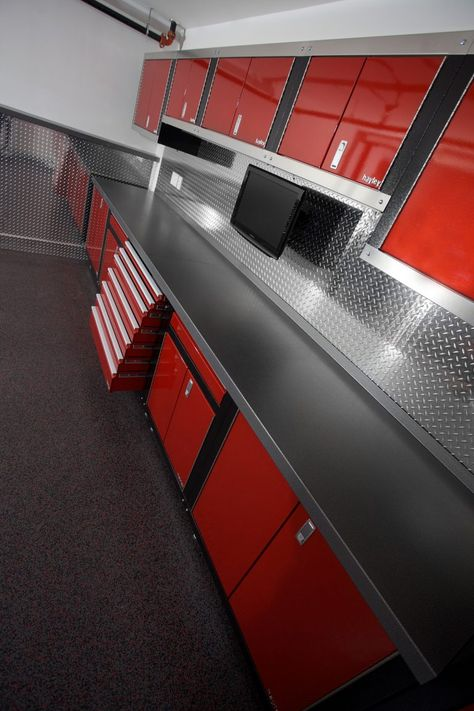 HC GARAGE GALLERY - Cabinets by Hayley - - HC SERIES – Completely modular with 4 standard widths allowing you to use your available space, efficiently & effectively. We offer simply the best cabinets on the market. Your tools will drool. Garage House, Garage Gym, Man Cave Garage, Mechanic Shop, Mechanic Garage, Metal Garages, Custom Garages, Cool Garages, Garage Renovation