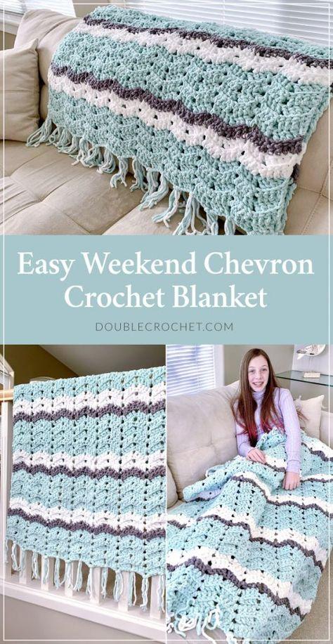 Easy Weekend Chevron Crochet Blanket Pattern - Double Crochet