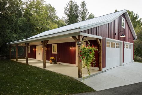 See exterior remodels from Bartelt in the Greater Milwaukee Area. Building A Pole Barn, Metal Shop Building, Pole Barn House Plans, Barn Plans, Building A House, Metal House Plans, Carriage House Plans, Morton Building, Metal Garage Buildings