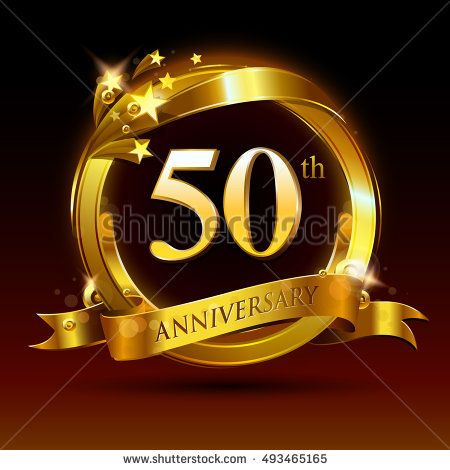 50th Golden Anniversary Logo 50 Years Anniversary Celebration With Ring And Ribbon Golden Anniversary Anniversary Logo 50th Golden Anniversary