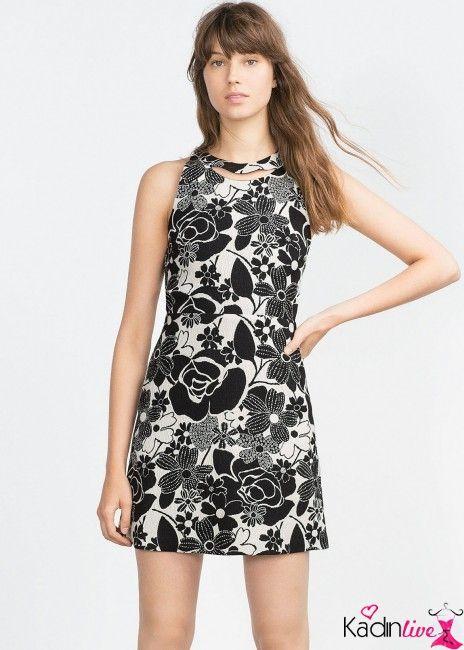 Zara Siyah Beyaz Baski Cicekli Mini Elbise Modelleri Kadinlive Com Mini Elbise Moda Stilleri Elbise Modelleri