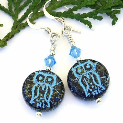Gothic Cross Earrings with Turquoise Blue Glass Rondelle