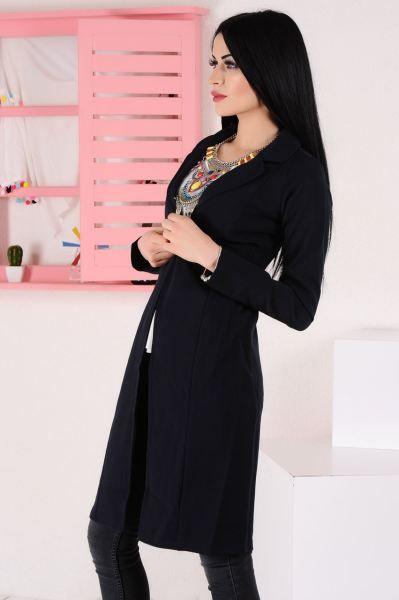 Bayan Ceket Tek Dugme Uzun Lacivert Ceket Alisveris 2018 Armine Deri Bayangiyim Modavigo Dikis Genc Sik Moda Kadin Gotik Stil Stil Moda Kadin