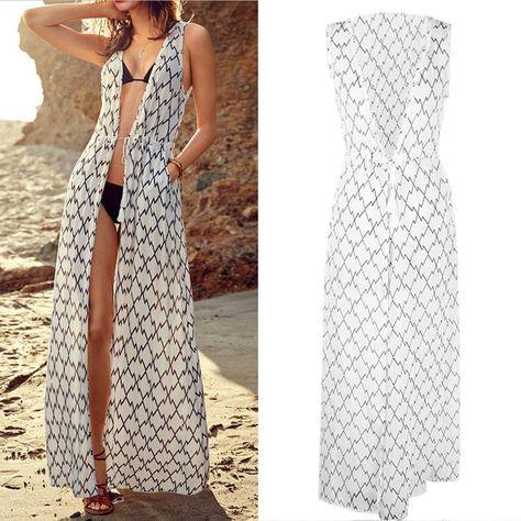 d7174172f4a4e 2015 Brand Output to Beach Cover-up White Chiffon Kaftan Beach Beachwear  Long Dress Bathing