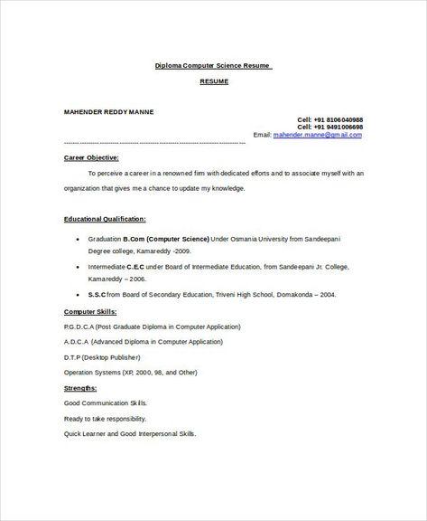 Computer Science Teacher Resume Template , Computer Science Resume