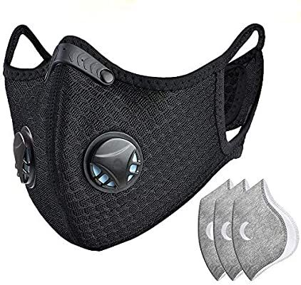 Washable Facial Bandanas with Valves for Running Cycling Reusable Face Coverings for Men Women