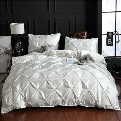 Unique Pintuck Pleat Design Polyester 3 Piece Bedding Sets Duvet Covers Silk Comforter Bedding Sets Comforter Bedding Sets Luxury Duvet Covers
