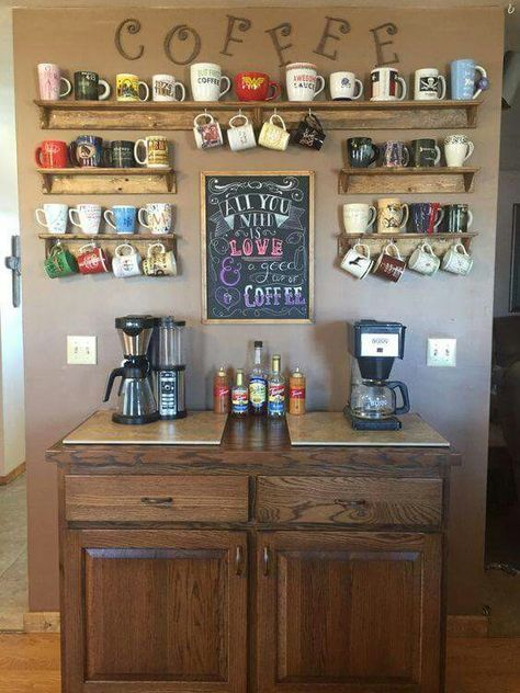 Beverage Bar With Wall Shelves For Mugs