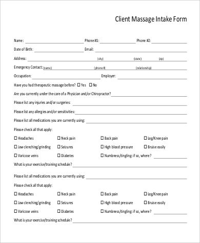 Client Intake Form Template Massage Intake Forms Templates