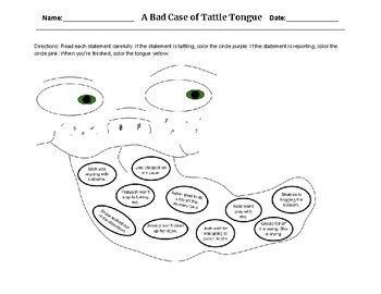 A Bad Case Of Tattle Tongue Activity Activities Color