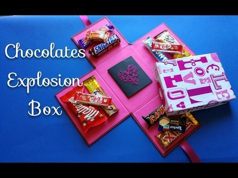 Chocolate Explosion Box Tutorial Crafts N Creations كيف تصنع صندوق المفاجآت الملئ بالشيكولاته Exploding Gift Box Diy Exploding Box Explosion Box Tutorial