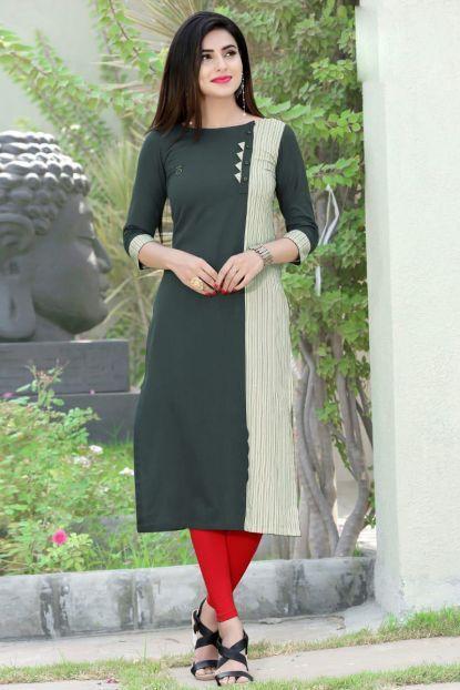 Olive Green Cotton Double Color College Wear Straight Kurti Catalog No 5648 Website Htt Kurti Designs Party Wear Kurti Neck Designs Simple Kurti Designs