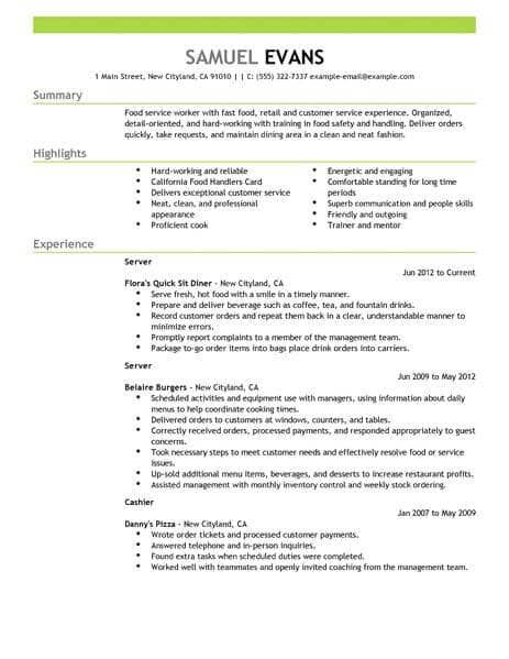 Food Server Resume Skills Job Resume Template Resume Skills