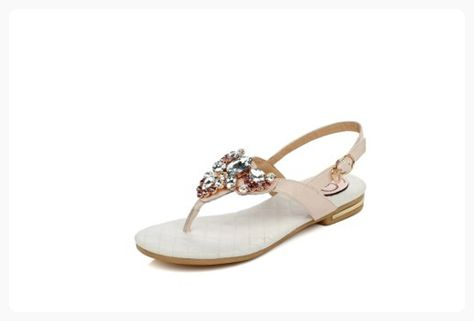 357689de4bf7d9 VogueZone009 Womens Open Toe PU Soft Materials Solid Thong Sandals with Glass  Diamond and Buckle