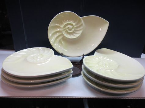 Set Of 7nautilus Shaped Appetizer Dish Plate Global Design