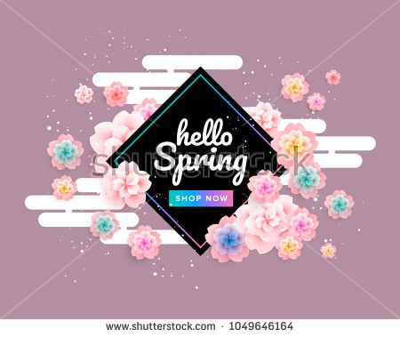 Pink Spring Background With Beautiful Flowers Cherry Blossom On Green Background Vector Banner Desig Flower Background Design Spring Background Pink Spring
