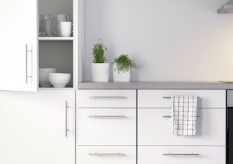 White Kitchen Handles white kitchen cabinet, t door handles, grey bench top | [ home