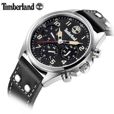5657660e9ef Timberland Mens Relógios Display Multifuncional de Couro Calendário Grande  de Marcação de Quartzo Relógio Ocasional T14859 Tipo de Item  Relógios de  pulso ...