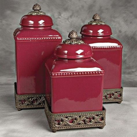 Kitchen Canister Sets Amazon Ruby Red Glass Canister Set