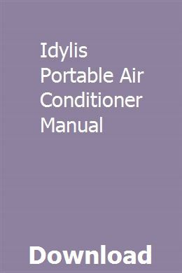 Idylis Portable Air Conditioner Manual pdf download full
