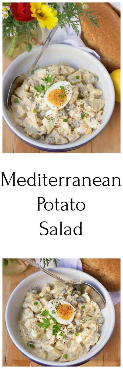 Mediterranean Potato Salad a sure win for all your summer gatherings! by cookingwithruthie.com #potatosalad #summersalad #summergatherings #mediterraneansalad #mediterranean