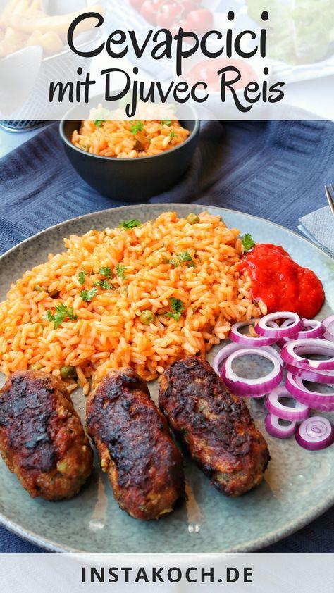 Cevapcici mit Djuvec Reis kennt jeder vom Balkan Restaurant. Mit meinem einfachen Rezept kannst du dieses leckere Gericht auch schnell zuhause kochen. Cevapcici sind super leckere Hackfleisch Röllchen, wie Frikadellen, und können nicht nur in der Pfanne gebraten, sondern auch super gegrillt werden. Perfekt für einen tollen Grillabend. #cevapcici #djuvec #reis #ajvar #grillen