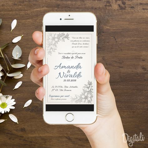 Convite Bodas De Prata Arte Digital Convites Bodas De Prata