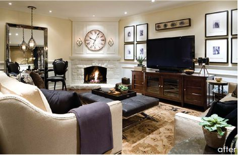 Balance Out the Flat Screen with Sets of Framed Art Flanking the TV - Focal Point Shared with Corner Fireplace   via www.monicawantsit.com