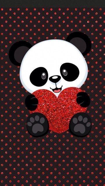 Cute Panda With Heart Wallpaper Cute Panda Wallpaper Panda Wallpapers Panda Wallpaper Iphone