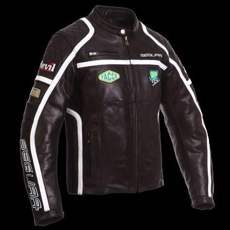 Veste moto noir et blanc