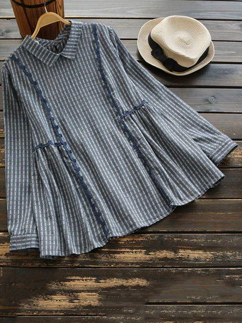 Vintage Stripe Lace Patchwork Long Sleeve Lapel Blouses For Women Cheap - NewChic