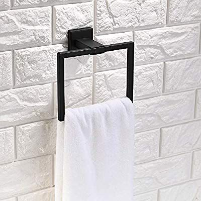 Amazon Com Tnoms Bathroom Hand Towel Holder Square Towel Bar Towel Ring Hanger Wall Mount Su Hand Towel Holder Hand Towels Bathroom Bathroom Hand Towel Holder