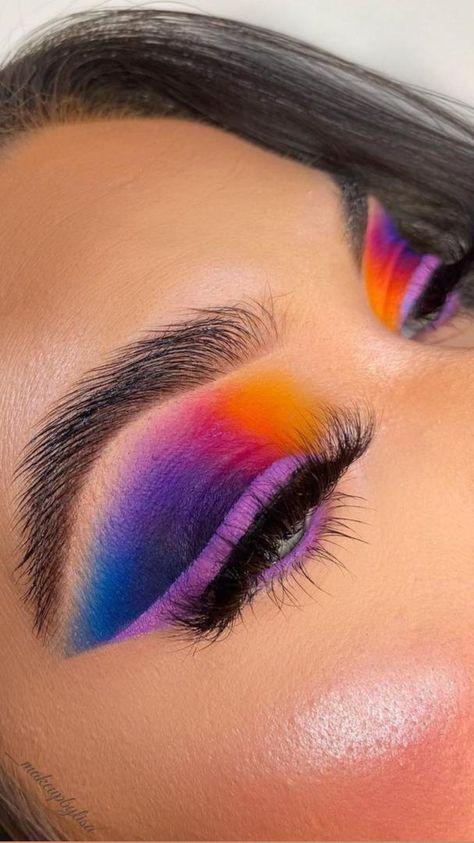 Purple Makeup Looks, Bright Eye Makeup, Colorful Eye Makeup, Bright Eyeshadow, Colorful Eyeshadow, Sunset Makeup, Makeup Artist Kit, Kate Makeup, Classy Makeup