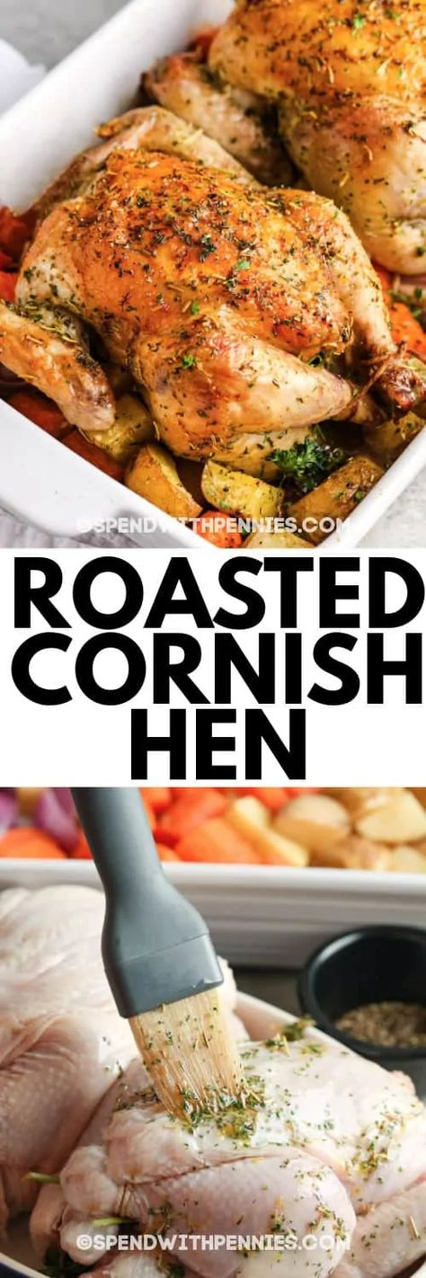 Cornish Hen is smaller than a chicken, which means it will take less time to cook. This juicy, tender hen is oven-baked and cooks in less than 1 hour!  #spendwithpennies #cornishhen #recipe #maindish #ovenroasted #baked