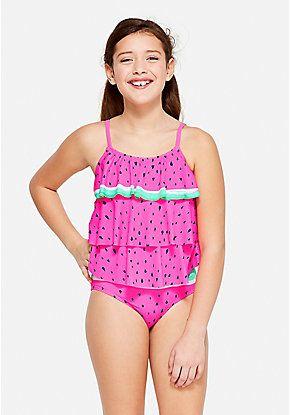 Watermelon Tiered Tankini Swimwear Girls Justice Swimsuits Swimwear