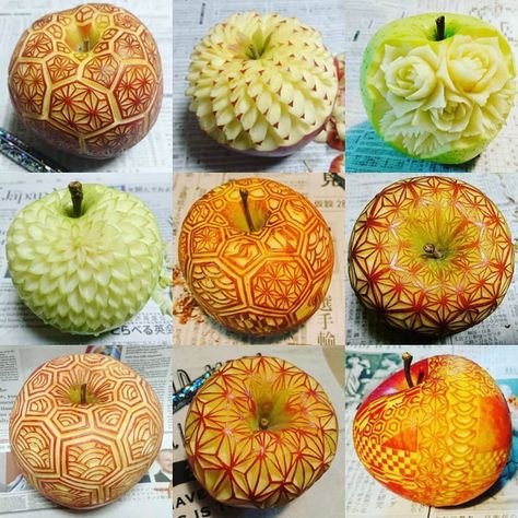 APPLE Fruit and Vegetable Carving Processing Art – Delicious Food L'art Du Fruit, Fruit Art, Fruit Cakes, Ladybug Cakes, Owl Cakes, Creative Food Art, Food Sculpture, Fruit And Vegetable Carving, Food Artists