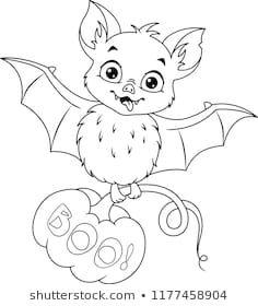 Cartoon Cute Bat with Halloween Pumpkin Coloring page Scary Halloween Crafts, Halloween Drawings, Halloween Pictures, Halloween Pumpkins, Fall Pumpkins, Bat Coloring Pages, Disney Coloring Pages, Coloring Pages For Kids, Coloring Books