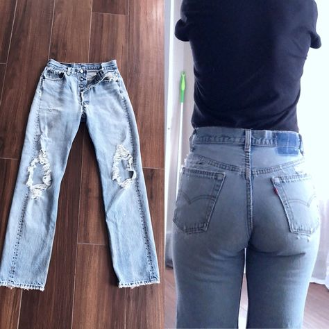 f359ed39e98 Vintage Levis 501 Jeans | Ripped Distressed Levis Jeans with Holes | 80s  90s High Waisted Blue LEVIS | Redone Restructured Straight Fit 27