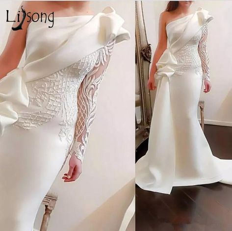 Elegant One Shoulder Mermaid Long Prom Dresses 2018 White Long Sleeves Prom Gowns Satin Ruched Ruffles Applique Sweep Train  Price: 164.22   #tees