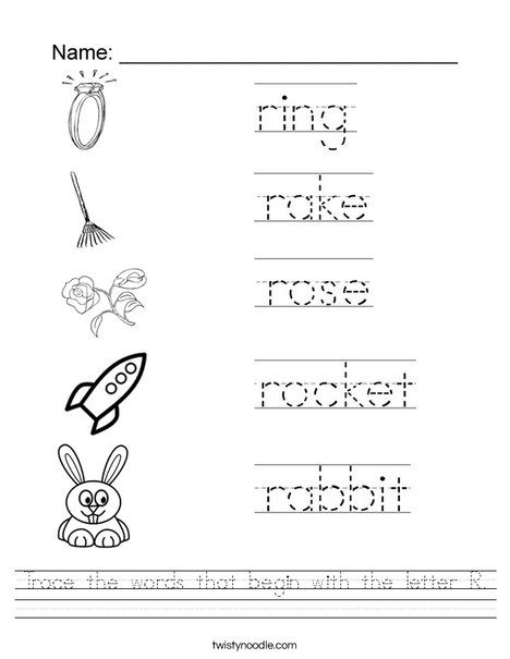 Trace The Words That Begin With The Letter R Worksheet Twisty